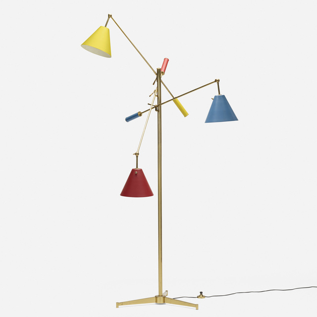 Angelo Lelii, 'Triennale floor lamp, model 12128', 1947, Design/Decorative Art, Brass, enameled aluminum, Rago/Wright