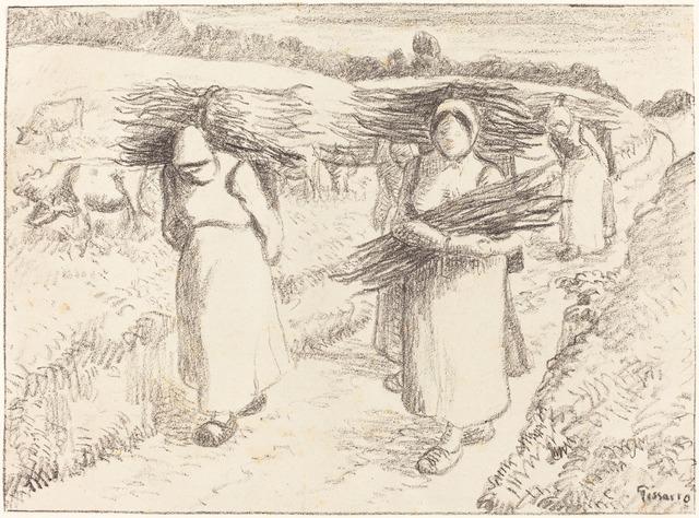 Camille Pissarro, 'Peasants Carrying Sticks (Paysannes portant des fagots)', 1896, National Gallery of Art, Washington, D.C.