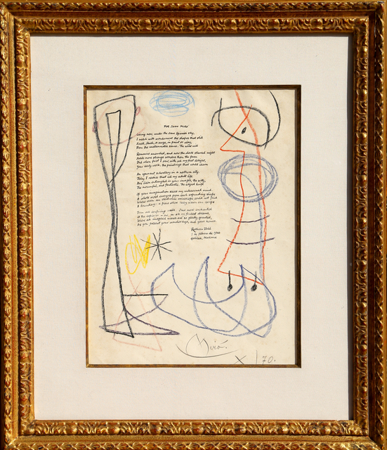 Joan Miró, 'For Joan Miro (Drawing with Ruthven Todd Poem)', 1966-1970, RoGallery