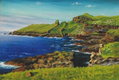 View towards Mykenes Holmen, the Faroe Islands