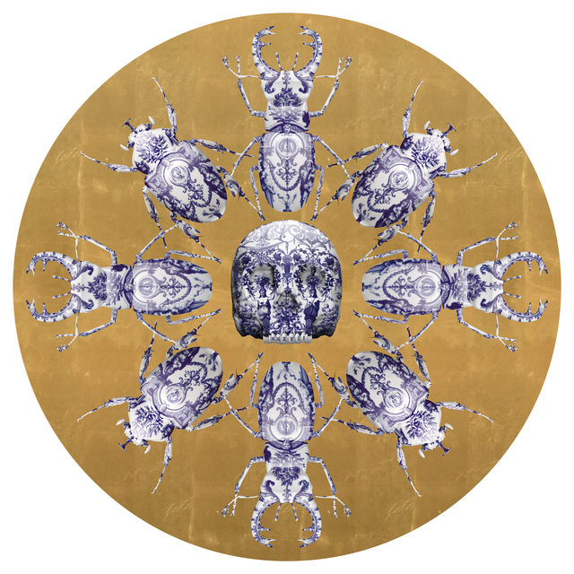 , 'KHAOS Print with skulls, beetles and scarab gold leaf ,' 2017, Flat Space Art
