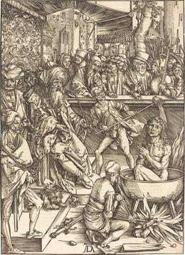 Albrecht Dürer, 'The Martyrdom of Saint John', probably c. 1496/1498, Print, Woodcut on laid paper, National Gallery of Art, Washington, D.C.