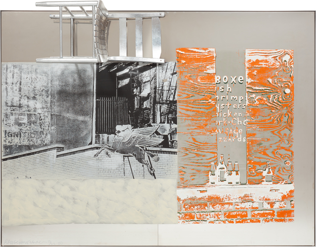 Robert Rauschenberg, 'Pegasits/ROCI USA (Wax Fire Works)', 1990, Mixed Media, Acrylic, fire wax and chair on stainless steel, Phillips