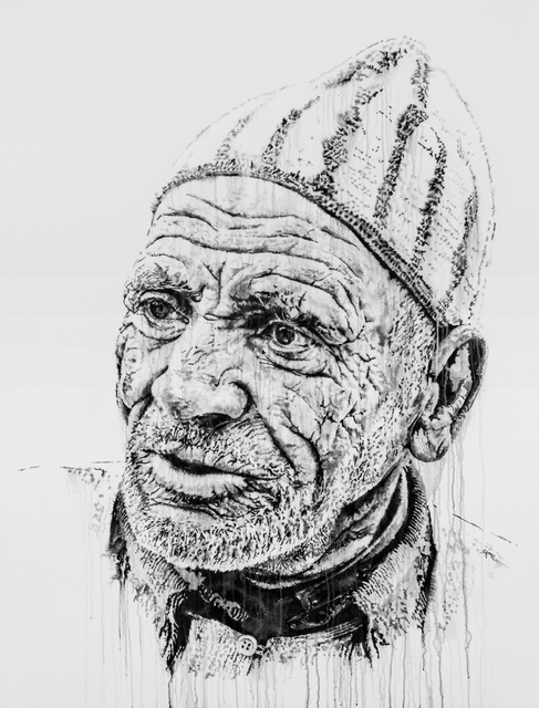 Hendrik Beikirch, 'Lahcen Khabbach (Morroco)', 2015, Painting, Acrylic, India ink and spray paint on canvas, Ruttkowski;68