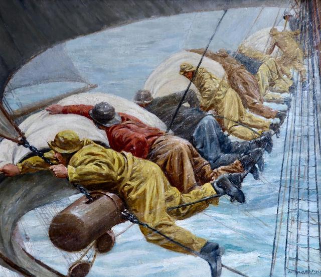 Anton Otto Fischer, 'Fishermen Battling Heavy Seas', 20th Century, Painting, Oil on Canvas, The Illustrated Gallery