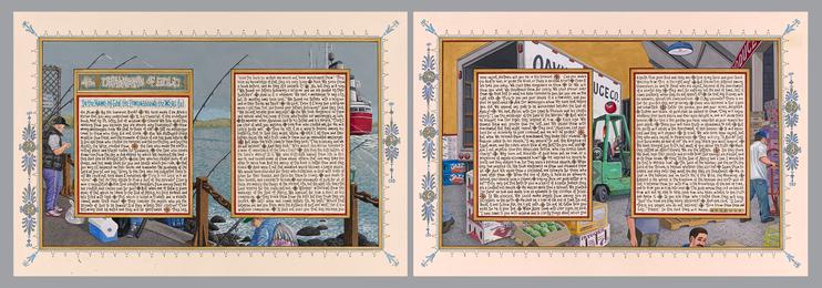 Sandow Birk, 'American Qur'an: Sura 43 A-B, diptych,' 2013, Koplin Del Rio