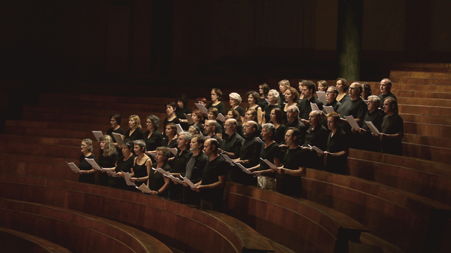, ' Claiming the Echo performed by the Solfףnica Choir, singlechannel HD video, 5 min 25 sec, looped Courtesy of the artist,' 2012, Herzliya Museum of Contemporary Art