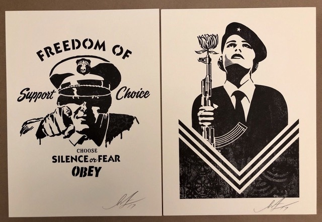 Shepard Fairey, 'Obey damaged freedom to obey letterpress signed', 2017, Rudolf Budja Gallery