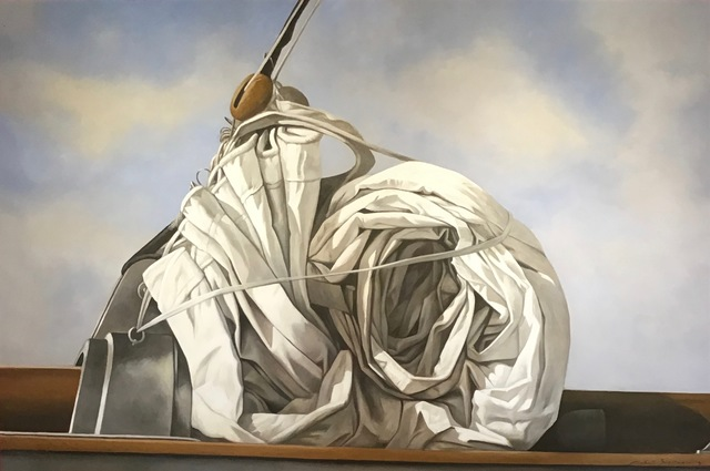 ", '""Snail Sail"" photorealistic oil painting of a rolled sail with blue sky and clouds behind,' 2018, Eisenhauer Gallery"