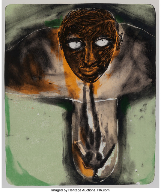 Francesco Clemente, 'Self Portrait in Red and Green', c. 1980, Heritage Auctions