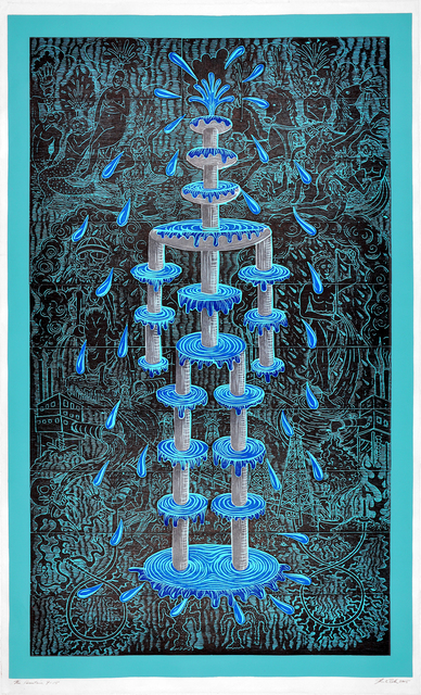 John Buck, 'The Fountain', 2015, Print, Color woodcut/relief, Shark's Ink.