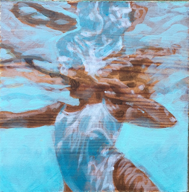 """Carol Bennett, '""""Archer (Paper)"""" oil painting of a woman in a white swimsuit in a blue pool with reflections', 2019, Eisenhauer Gallery"""