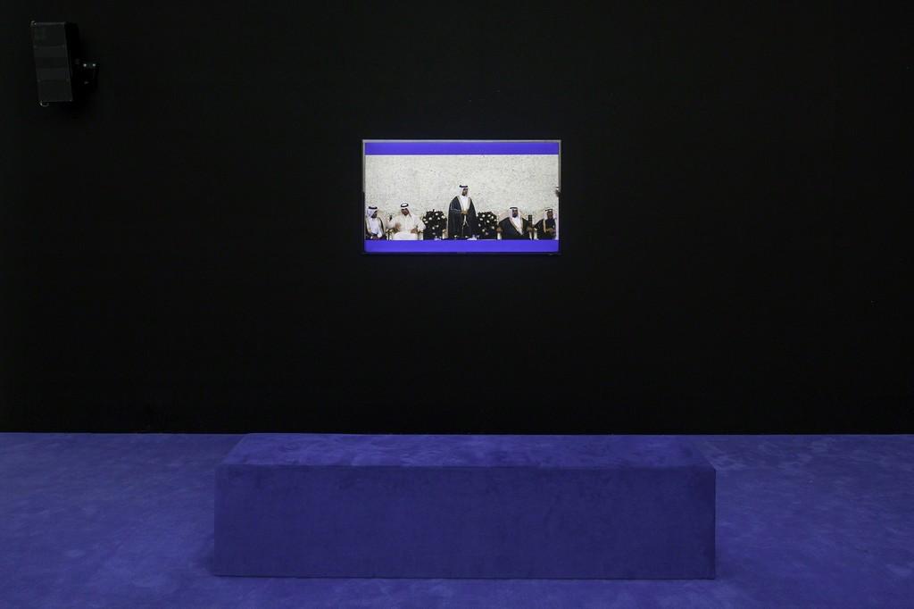 "Yuri Ancarani, installation view, ""Sculture,"" view on ""Wedding,"" 2016, Kunsthalle Basel, 2018.  Photo: Nicolas Gysin / Kunsthalle Basel"