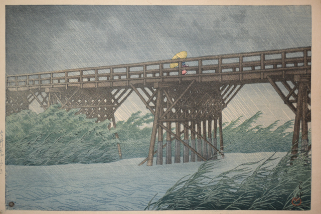 , 'Sudden Shower at Imai Bridge,' 1932, Ronin Gallery