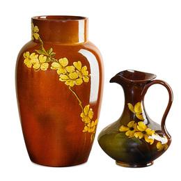 Early Standard Glaze vase and Standard Glaze Light pitcher with dogwood blossoms, Cincinnati, OH