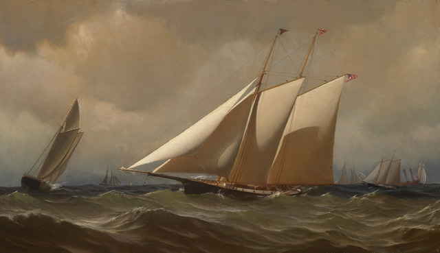 ", 'Racing Yacht ""Comet"" Off New York,' 1879, Avery Galleries"