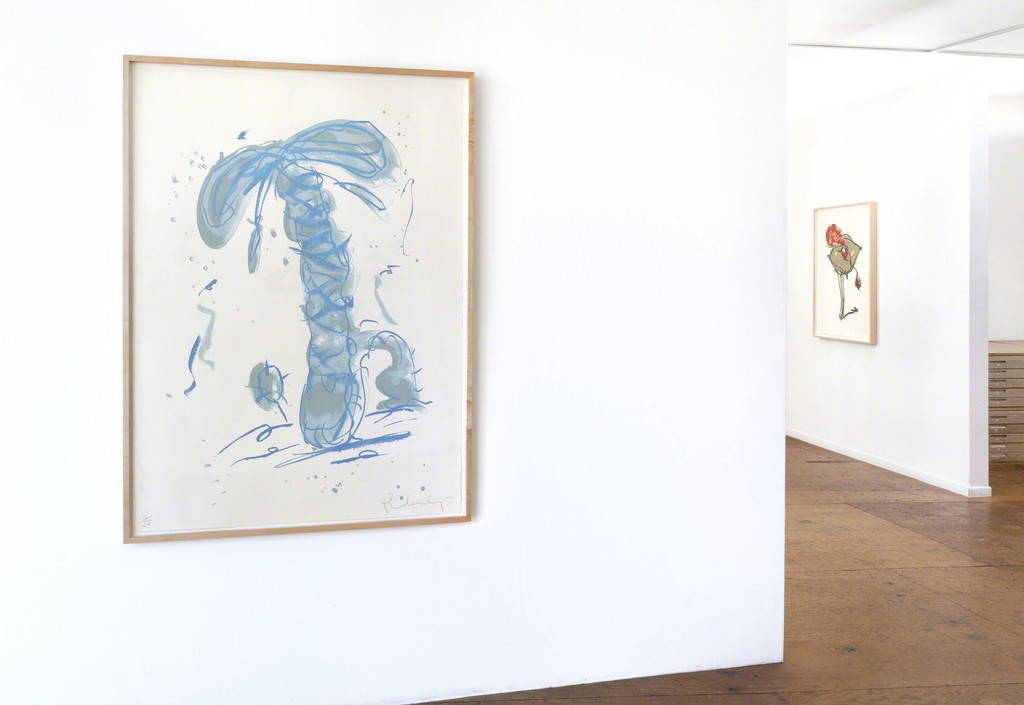 Claes Oldenburg, Sneaker Lace in Landscape - Blue (1991), Perfume Atomizer, On A Pillow On A Chair Leg (1997)