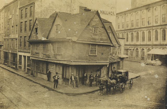 Attributed to John A. Whipple, 'The Old Feather Store on the corner of North Street and Dock Square, near Faneuil Hall', Circa 1855, Swann Auction Galleries