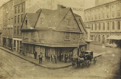 The Old Feather Store on the corner of North Street and Dock Square, near Faneuil Hall