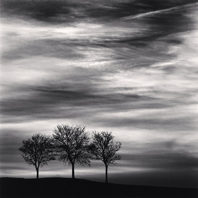 Michael Kenna, 'Three Trees at Dusk - Fain les Moutiers, Bourgogne, France. ', 2013, Photography, Sepia toned silver gelatin print, Galeria de Babel