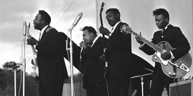John 'Hoppy' Hopkins, 'Muddy Waters, James Cotton, Jimmy Lee Morris and Peewee Madison, Newport Jazz Festival', 1965, ElliottHalls