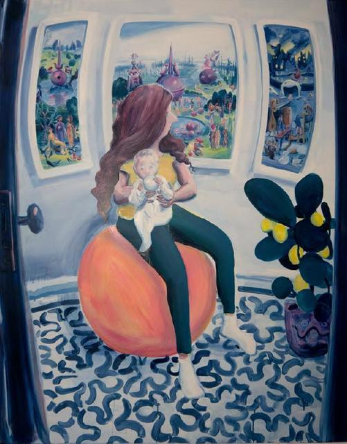 Hilary Doyle, 'Mother and Child on a Yoga Ball III (Garden of Earthly Delights)', 2020, Painting, Acrylic on canvas, Taymour Grahne Projects
