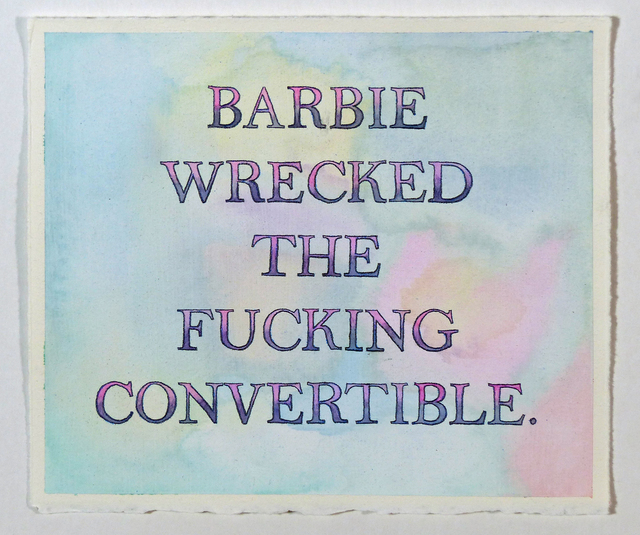 , 'Barbie Wrecked the Fucking Convertible,' 2017, Freight + Volume