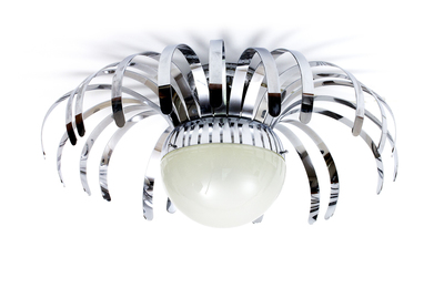 Spider lamp in chrome-plated metal slats and globular diffuser