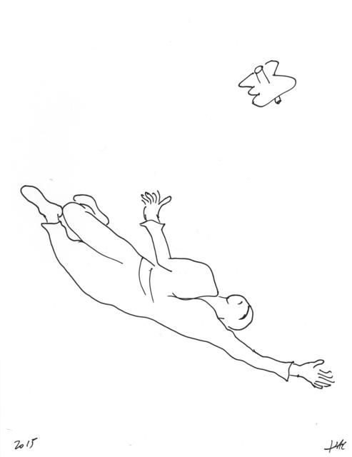 , 'Performance pour un astronaute, une paire de ciseaux et deux feuilles de papier #3,' 2017, Galerie Charlot