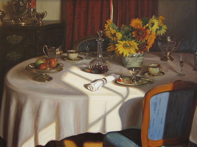 Evan Wilson, 'Tea, Sherry and Sunflowers', ca. 1991, Painting, Oil on canvas, Quidley & Company