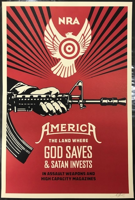Shepard Fairey, 'God Saves & Satan Invests NRA Edition', 2013, Print, Speckletone paper, New Union Gallery