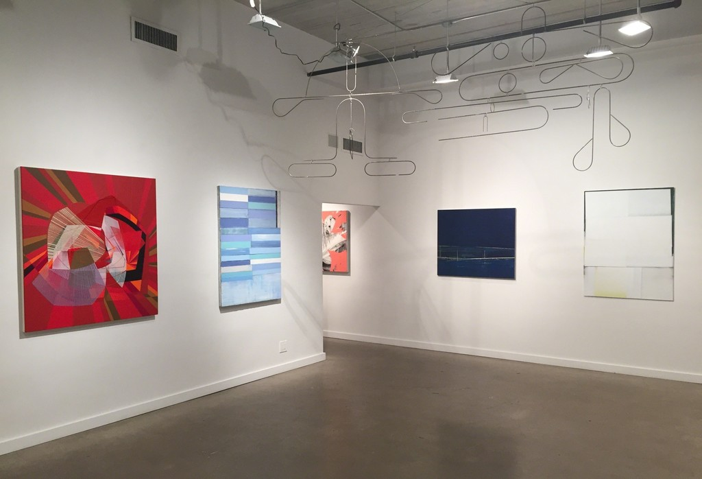 Paintings from left: Alex Couwenberg, Mark Zimmermann, Jeff Muhs, Gayle Ruskin, Jeffrey Cortland Jones. Ceiling sculpture by Rodger Stevens