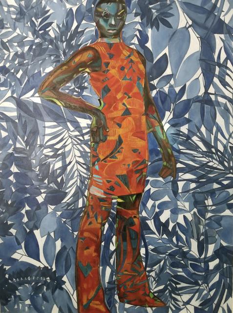 Wole Lagunju, 'Woman in indigo cool blue ', 2020, Painting, Oil on canvas, Ed Cross Fine Art