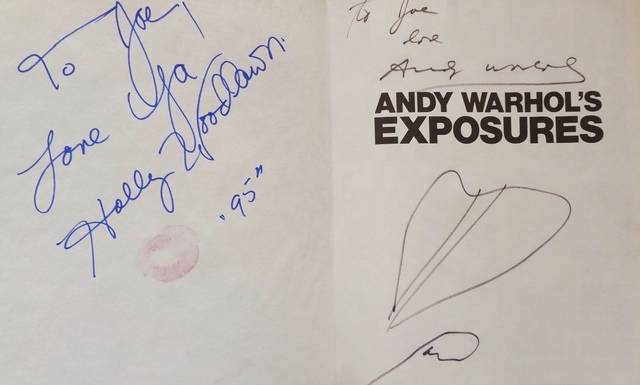 """Andy Warhol, '""""Exposures"""" signed twice by Warhol with drawings. Also signed by Joe Dallesandro and Holly Woodlawn also with a lipstick kiss.""""', 1979, Ephemera or Merchandise, Signed book, MultiplesInc Projects"""