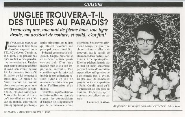 , 'Unglee trouvera-t-il des tulipes au paradis ? Paris 1993,' 1995, Galerie Christophe Gaillard