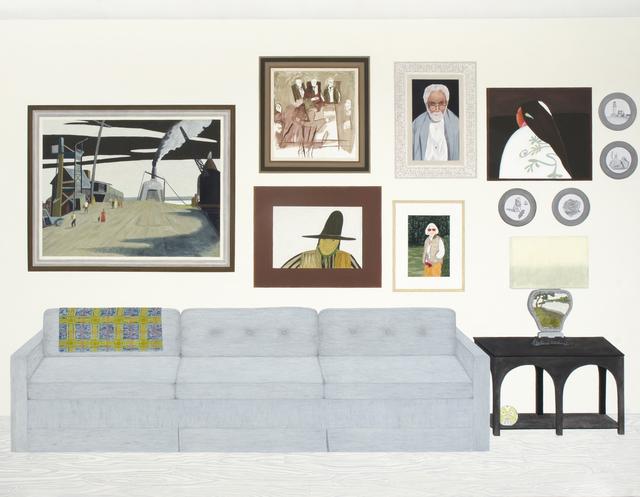 , 'Living Room (six paintings, four plates),' 2015, ICA Philadelphia