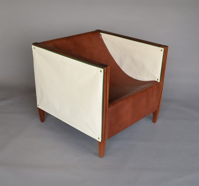 , 'Camp Club Chair: Mahogany, Canvas, Leather,' , blankblank