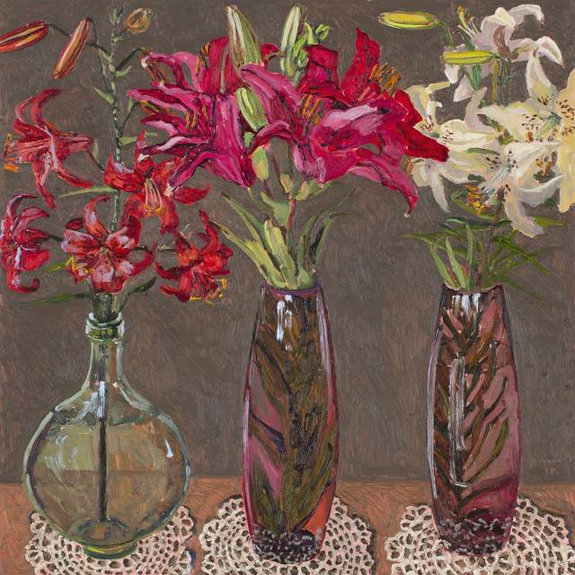 , 'Lillies, glass vessels,' 2018, Jan Murphy Gallery