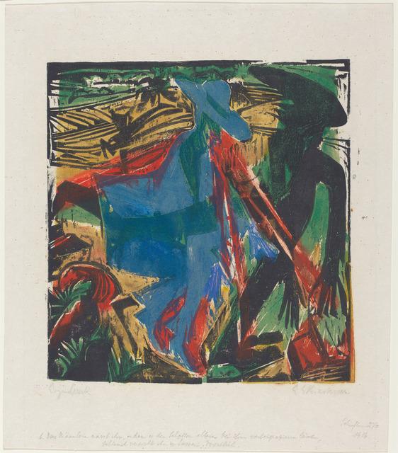 Ernst Ludwig Kirchner, 'Das Männlein narrt ihn, indem es den Schatten allein bei ihm vorbeispazieren lässt, Schlemihl versucht ihn zu fassen', 1915, National Gallery of Art, Washington, D.C.