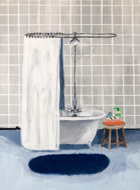 Polly Shindler, 'Gray Tile Bathroom ', 2020, Painting, Acrylic on canvas, Freight + Volume