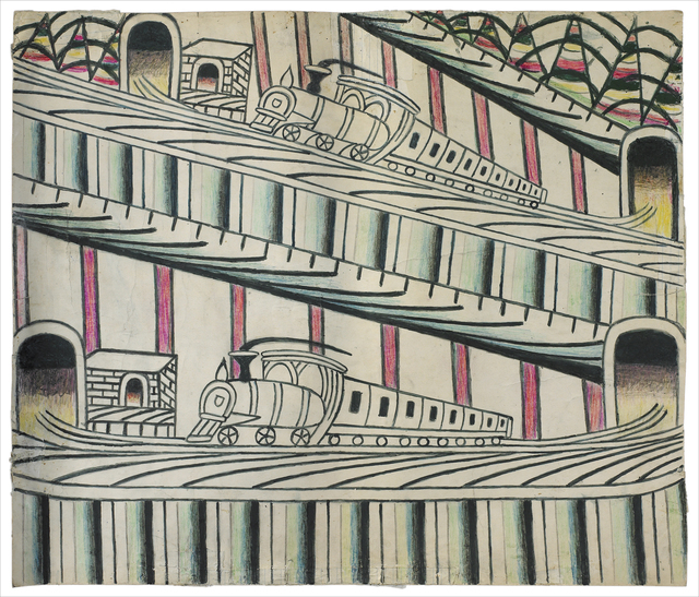 Martín Ramírez, 'untitled (trains on inclined tracks)', Drawing, Collage or other Work on Paper, Gouache, colored pencil and graphite on paper, Ricco/Maresca Gallery