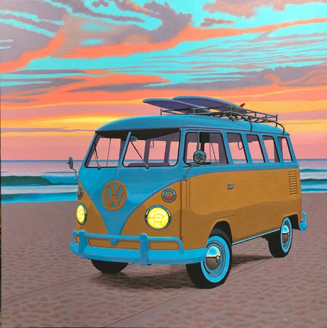 "Rob Brooks, '""Dawn Patrol"" photorealist oil painting of a vintage yellow Volkswagen Bus, orange sky, blue clouds', 2019, Eisenhauer Gallery"