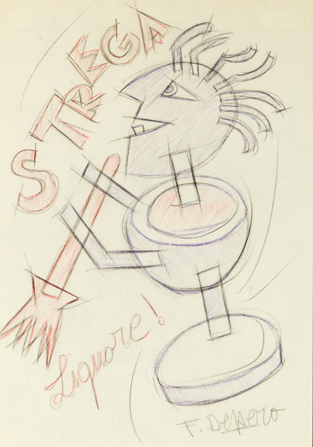 Fortunato Depero, 'Strega', 1928, Drawing, Collage or other Work on Paper, Colored pencils, 11 [HH] Art Gallery