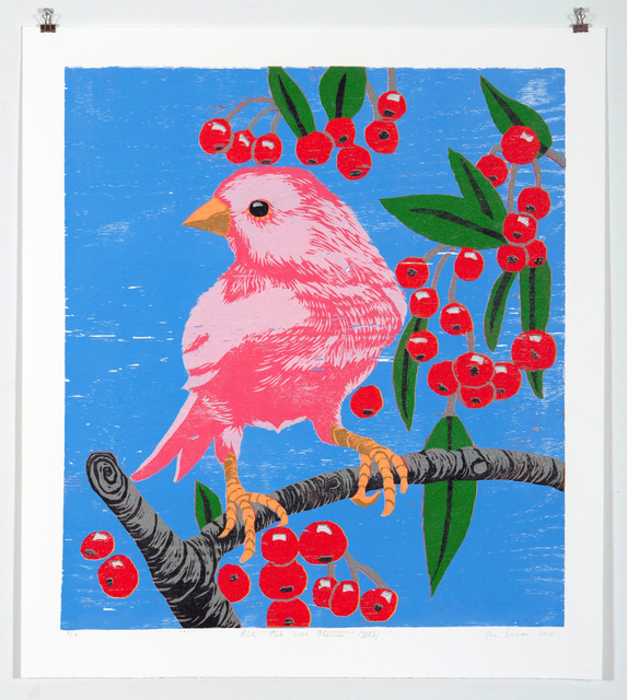 Ann Craven, 'Pink Bird with Cherries (Blue)', 2011, Print, Reduction Wood Cut on Paper, Food Bank For New York City Benefit Auction