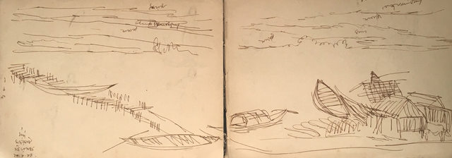 , 'Jiyagunj : Landscape drawings, ink on paper by Indian Master Artist Indra Dugar, greatly influenced by Artist Nandalal Bose,' 1964, Gallery Kolkata