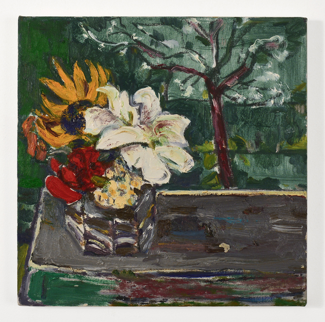 Bernard Chaet, 'Untitled (Flowers on Purple Table with Tree)', ca. 2000, FRED.GIAMPIETRO Gallery