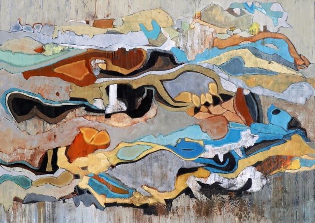 ", '""Emerald Bay 22"" Abstract oil painting in Browns, Turquoise, Blue, Orange, Neutrals,' 2010-2018, Eisenhauer Gallery"