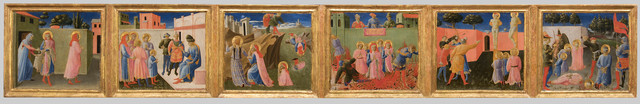 , 'Predella from the Annalena altarpiece: Six Scenes from the Life of Cosmas and Damian,' About 1434, Isabella Stewart Gardner Museum