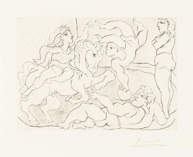 """Pablo Picasso, 'The Circus. Practice', 1933, Print, Original drypoint printed in black ink on Montval laid paper bearing the """"Picasso"""" watermark., Christopher-Clark Fine Art"""
