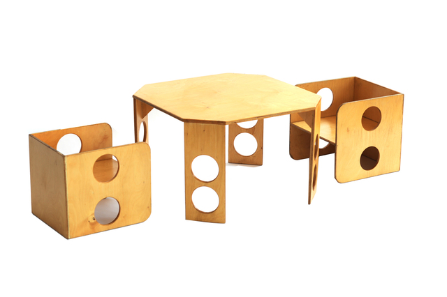 , 'Circle Cut Out Table & Chairs,' ca. 1970, kinder MODERN